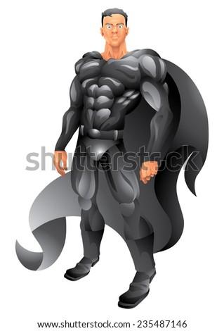 Black cape superhero isolated - stock photo