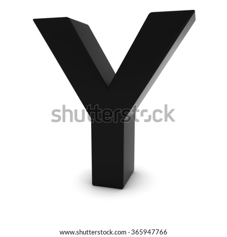 Black Capital Y - 3D Letter Y Isolated on white