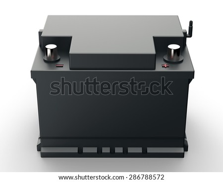 black car battery isolated on a white background. - stock photo