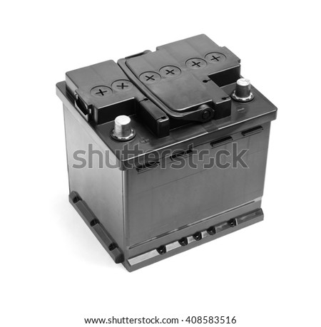 Black car battery isolated on a white background - stock photo