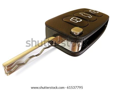 black car key isolated on white - stock photo
