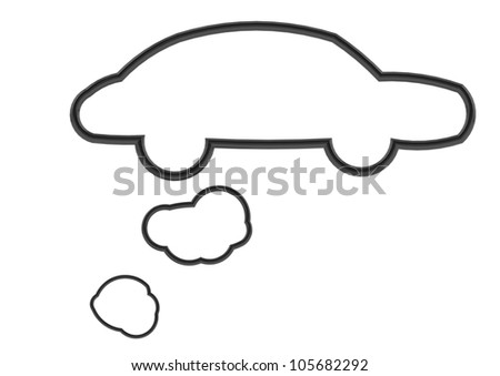 Black car shape speech bubble - stock photo