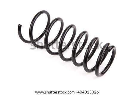 Black car spring isolated on white background - stock photo