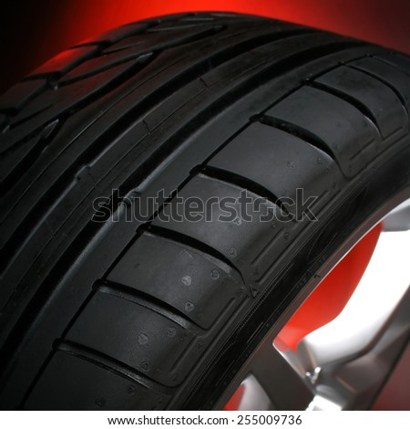 black car tire - stock photo