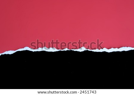Black card torn horrizontally with a red background - stock photo