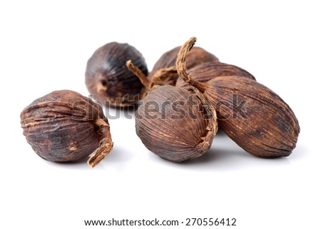 Black cardamom on a white background  - stock photo