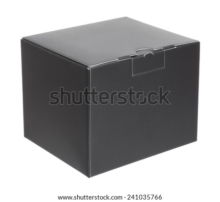 Black cardboard box on a white background - stock photo
