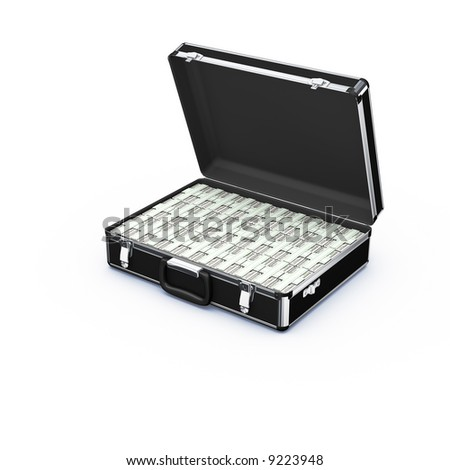 black case with money on white - stock photo