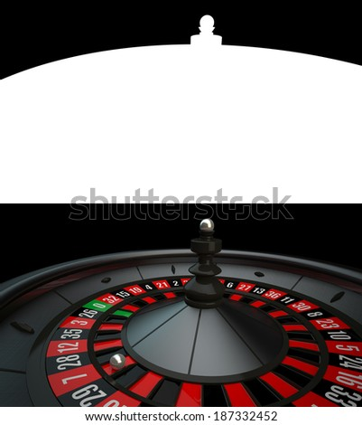 Black Casino Roulette with alpha channel - stock photo