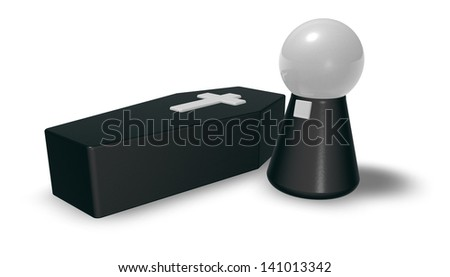 black casket whit christian cross and simple pastor character - 3d illustration - stock photo