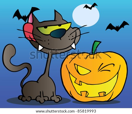 Black Cat And Winking Halloween Jackolantern Pumpkin With Bats On Blue - stock photo