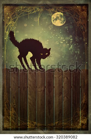 Black cat on old wood fence at  night with vintage look - stock photo