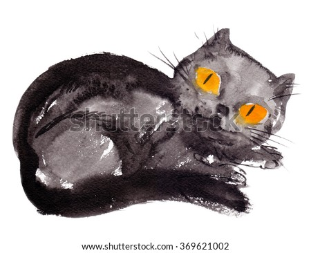 Black cat with big yellow eyes painted in watercolor on white isolated background