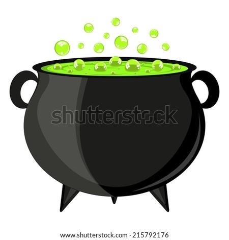 black cauldron witches potion for Halloween - stock photo