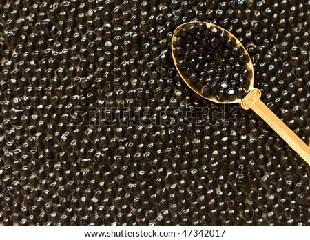 black caviar in spoon - stock photo