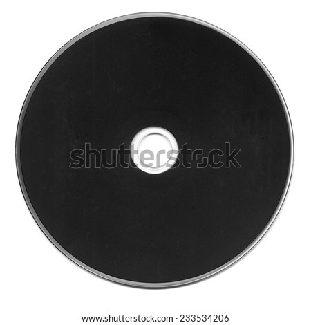 Black CD or DVD isolated over white background - stock photo