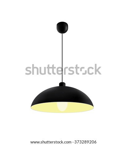 Black ceiling lamp. - stock photo