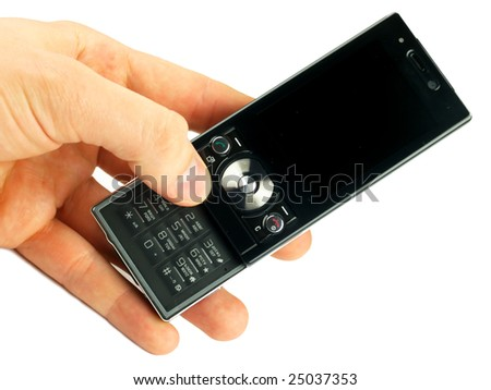Black cell phone in a hand