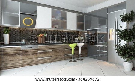 black ceramic and wooden furniture under light modern kitchen 3d rendering by sedat seven - stock photo