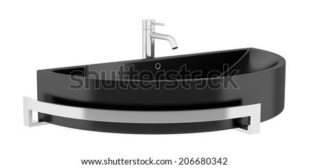 black ceramic bathroom sink isolated on white background - stock photo