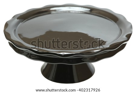Black Ceramic Empty Cake Stand isolated over white.