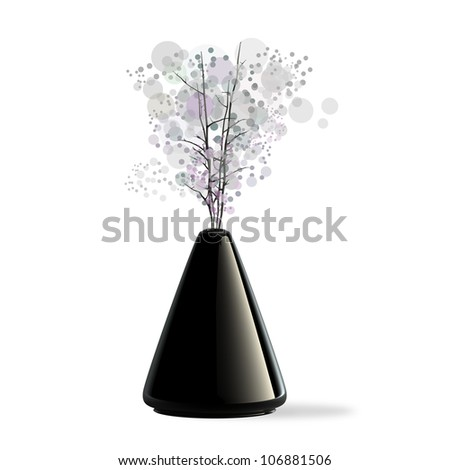 Black ceramic vase with a flower isolaed on white background. 3d illustration. high resolution - stock photo