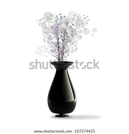 Black Ceramic Vase Flower Isolaed On Stock Illustration 107274425