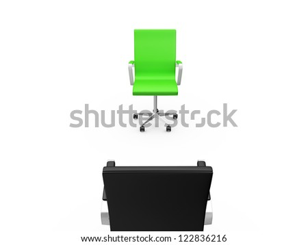 Black chair on a meeting with green chair, back view, isolated on white background. - stock photo