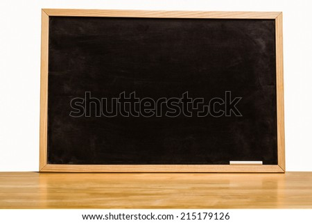 Black chalk board with copy space on white background