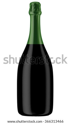 Black Champagne or sparkling wine bottle isolated on white background. 3D Mock up for you design.