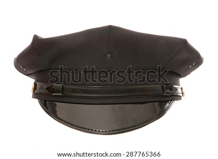 black chauffeur cap studio cutout - stock photo