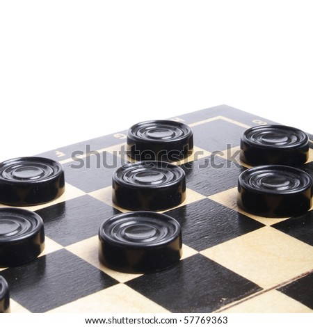 Black chekers on Chekersboard on white background (isolated, clipping path) - stock photo