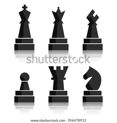 Black chess icons set. Chess board figures. Graphic illustration chess pieces. Nine different objects including king, queen, bishop, knight, rook, pawn - stock photo
