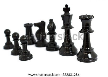 Black  chess isolated white background