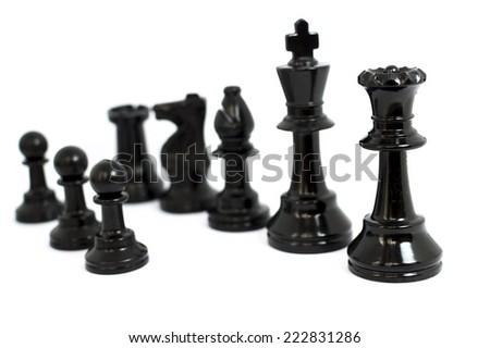 Black  chess isolated white background - stock photo