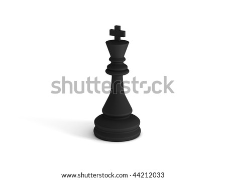 Black chess king on white background. High quality 3d render.