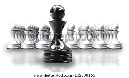 Black chess pawn abstract isolated on white background 3d illustration. high resolution - stock photo