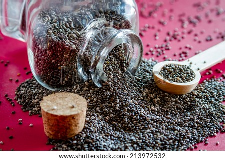 Black chia seeds spilling out of glass bottle on red table top with small round spoon - stock photo
