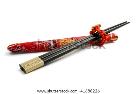 black chopsticks and red cover - stock photo