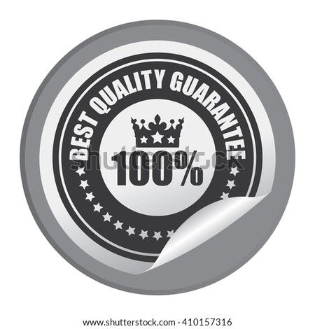 Black Circle 100% Best Quality Guarantee - Product Label, Campaign Promotion Infographics Flat Icon, Peeling Sticker, Sign Isolated on White Background  - stock photo