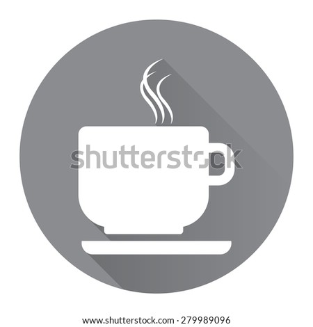 Black Circle Coffee Cup or Coffee Shop Long Shadow Style Icon, Label, Sticker, Sign or Banner Isolated on White Background - stock photo