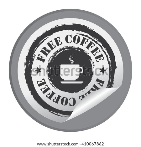 Black Circle Free Coffee - Product Label, Campaign Promotion Infographics Flat Icon, Peeling Sticker, Sign Isolated on White Background  - stock photo