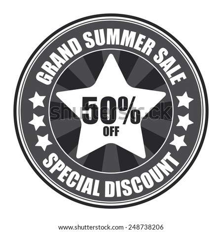 Black Circle Grand Summer Sale 50% Off Special Discount Sticker, Icon, Tag, Badge or Label Isolated on White Background  - stock photo