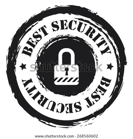Black Circle Grungy Best Security Stamp, Sticker, Icon or Label Isolated on White Background  - stock photo