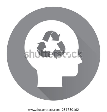 Black Circle Head With Recycle Arrow Flat Long Shadow Style Icon, Label, Sticker, Sign or Banner Isolated on White Background - stock photo