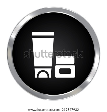 Black Circle Metallic Cosmetic Container Icon or Button Isolated on White Background  - stock photo