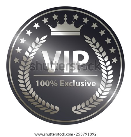 black circle metallic vip 100% exclusive badge, sticker, banner, sign, icon, label isolated on white - stock photo