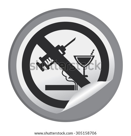 Black Circle No Drug Prohibited Sign Infographics , Sticker, Icon or Label Isolated on White Background  - stock photo