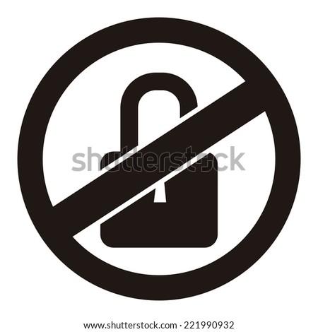 Black Circle No Locked Prohibited Sign, Icon or Label Isolate on White Background  - stock photo