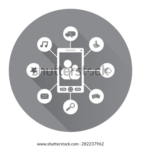 Black Circle Social Network, Social Media Flat Long Shadow Style Icon, Label, Sticker, Sign or Banner Isolated on White Background - stock photo